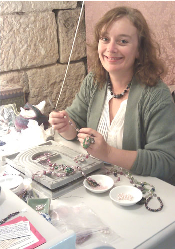 Belinda making limited edition necklaces at the Rocks Pop Up shop
