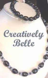 Black freshwater pearls with kyanite and blue lace agate necklace and black pearl bracelet by Creatively Belle