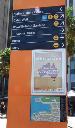 Touring information sign for Oprah Fans to the Opera House