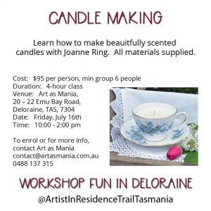 Artist in Residence Trail Tasmania Candle Making Workshop