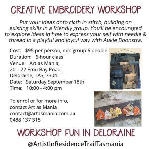 Artist in Residence Trail Tasmania Workshop Creative Embroidery