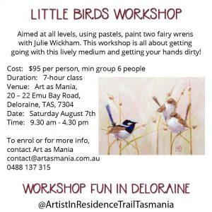 Artist in Residence Trail Tasmania Workshop Pastel Painting Blue Wrens