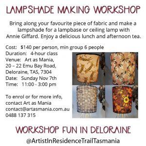 Artist in Residence Trail Tasmania Lampshade Making Workshop