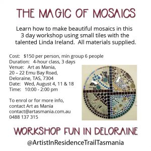 Artist in Residence Trail Tasmania Mosaic Workshop