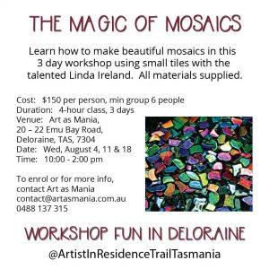 Artist in Residence Trail Tasmania Mosaic Magic Making Workshop