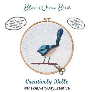 Blue Wren Cross Stitch Digital Pattern by Belinda Stinson of Creatively Belle
