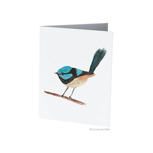 Captivating Superb Blue Wren Watercolour Greeting Card