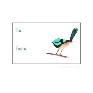 Blue Wren 6 tag Gift Tag set