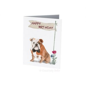 Bulldog Happy Birthday greeting card is blank inside for your message - find 101+ message ideas with Creatively Belle