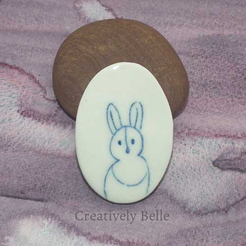 Beloved Bunny brooch by Belinda Stinson in blue and white ceramic jewellery Creatively Belle