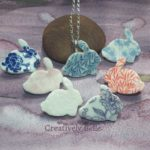 Bunny rabbit collection of ceramic jewellery with necklace and brooches by Creatively Belle