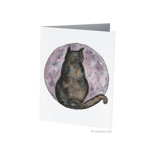Cat and Moon Greeting Card Original Watercolour Painting by Belinda of Creatively Belle