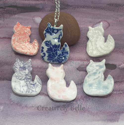 Cat necklace and brooch collection ceramic jewellery by Creatively Belle at The Rocks Markets in Sydney