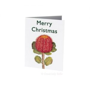 Banksia Coccinea Watercolour Christmas Card