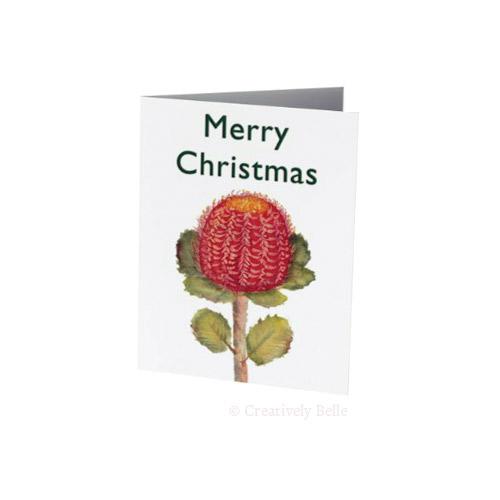 Banksia Coccinea Watercolour Christmas Card