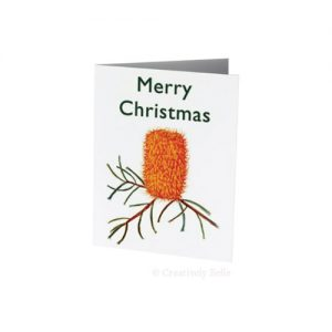 Banksia Marginata watercolour Christmas card