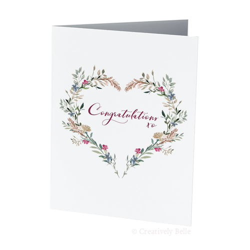 Engagement and wedding greeting cards messages sayings and quotes congratulations heart field flowers greeting card creatively belle printed in australia m4hsunfo