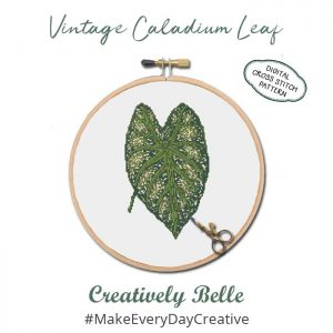 Vintage Caladium Leaf Digital Cross Stitch Pattern by Creatively Belle