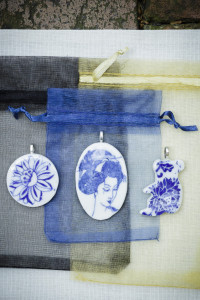 Beautiful blue and white collection of pendants at The Rocks Markets in Sydney