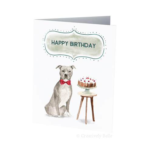 American Staffordshire Terrier Dog and birthday cake greeting card