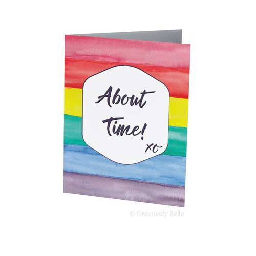 Celebrate Equal Marriage Rights About Time Watercolour Rainbow with this Greeting Card