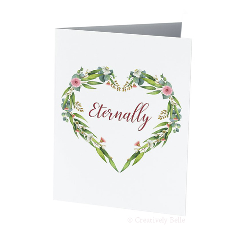 Engagement and wedding greeting cards messages sayings and quotes a floral heart made of australian gum blossoms and leaves with the word eternally inside it m4hsunfo