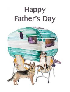Happy Father's Day Caravan and Dogs Greeting Card by Creatively Belle