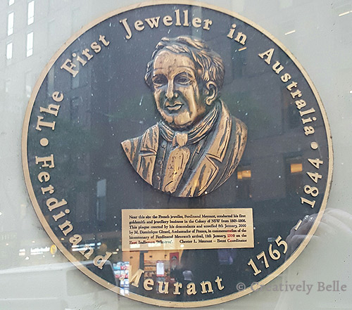 Ferdinand Meurant plaque 1 Bligh Place Sydney Convict Jewellery Creatively Belle