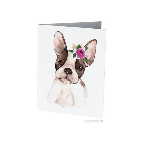 Floral French Bulldog Greeting Card from Creatively Belle