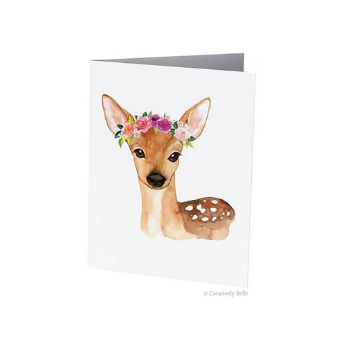 Floral Deer Greeting Card from Creatively Belle