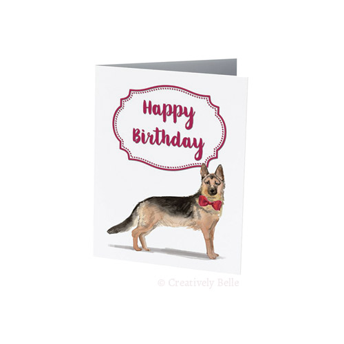 German Shepherd Happy Birthday card for dog lovers