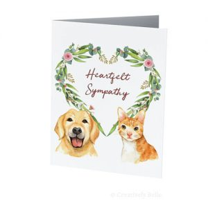 Cat and dog condolence card