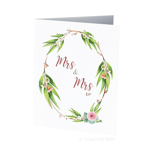 Gum Blossom Mrs and Mrs Wedding Card Creatively Belle printed in Australia