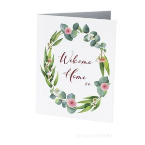 Welcome Home eucalyptus gum blossom greeting card