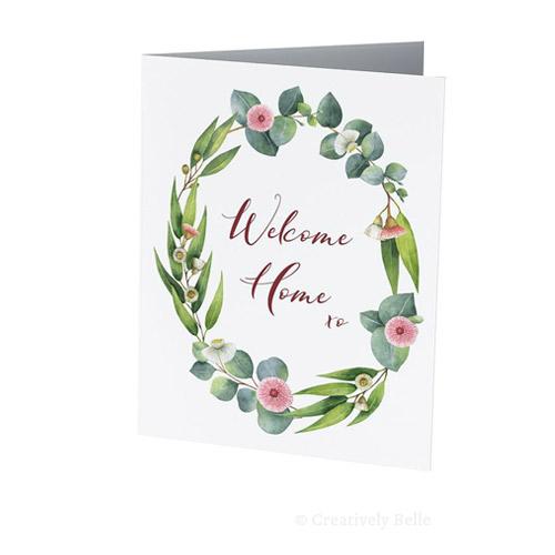 Welcome Home eucalyptus gum blossom greeting card
