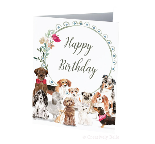 A Dozen dogs saying Happy Birthday!