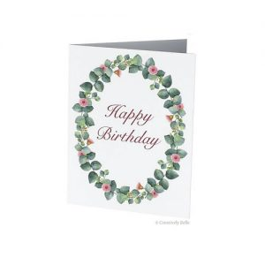 Australian Happy Birthday Gum Blossom and Leaves Greeting Card from Creatively Belle