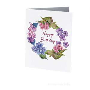 Hydrangea Happy Birthday Greeting Card is blank inside