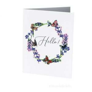 Hello Lavender and Butterflies greeting card