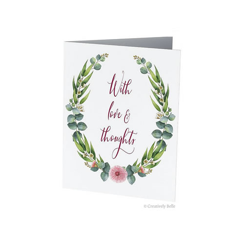 With Love and Thoughts Gum Blossom and Leaves Greeting Card from Creatively Belle