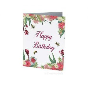 Australian Native Wildflowers and Bees Happy Birthday Greeting Card