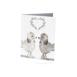Poodles floral heart greeting card is ideal for birthdays, anniversaries and weddings