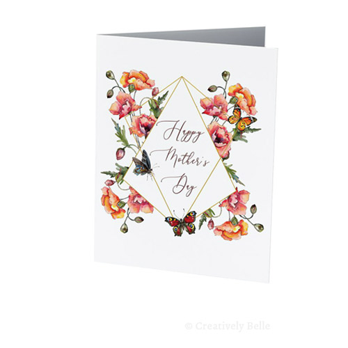 Happy Mother's Day Poppy and Butterfly greeting card