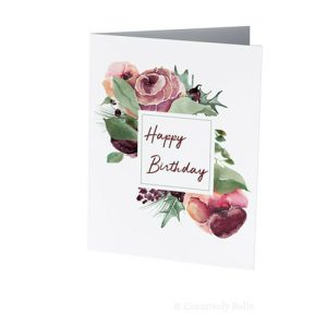 Watercolour Roses Happy Birthday card