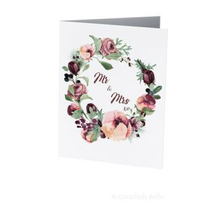 Watercolor roses Wedding Mr and Mrs card
