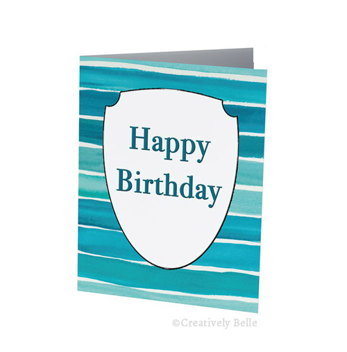 Blue Seas Happy Birthday Card Stationery by Creatively Belle