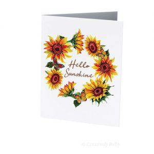Hello Sunshine card featuring sunflowers and butterflies