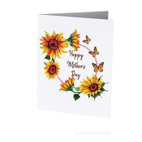 Sunflowers and Butterflies celebrating mum with this Happy Mother's Day greeting card
