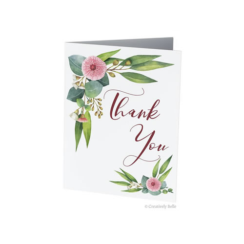 Australian Thank You Gum Blossom and Leaves, Gumnuts Greeting Card from Creatively Belle