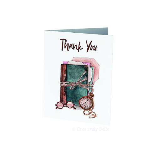 Thank you card for book lovers